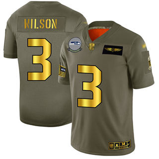 Men's Seahawks #3 Russell Wilson Camo Gold Stitched Football Limited 2019 Salute To Service Jersey