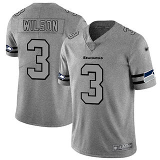 Men's Seahawks #3 Russell Wilson Gray Stitched Football Limited Team Logo Gridiron Jersey
