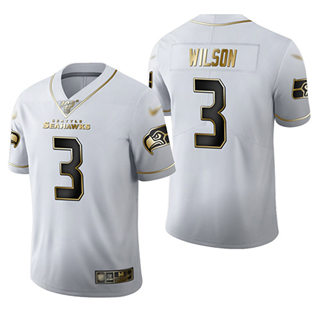 Men's Seahawks #3 Russell Wilson White Stitched Football Limited Golden Edition Jersey