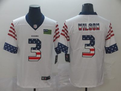 Men's Seahawks #3 Russell Wilson White Stitched Football Limited Independence Day Jersey