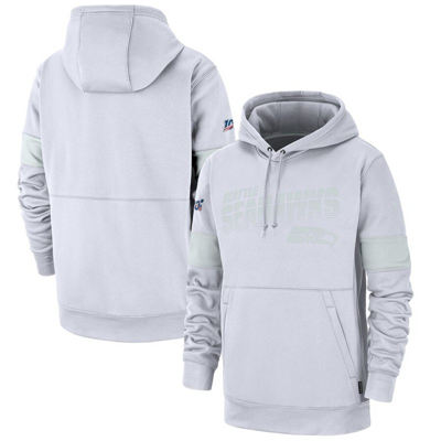 Men's Seattle Seahawks 100th Season Patch 2019 Sideline Platinum Therma Pullover Hoodie - White