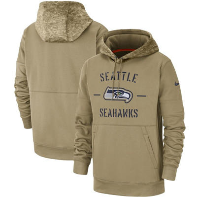 Men's Seattle Seahawks Tan 2019 Salute to Service Sideline Therma Pullover Hoodie