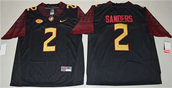 Men's Seminoles #2 Deion Sanders Black Limited Stitched NCAA Limited Jersey