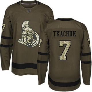 Men's Senators #7 Brady Tkachuk Green Salute to Service Stitched Hockey Jersey