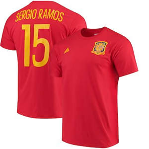 Men's Sergio Ramos Spain National Team  Federation Jersey Hook Player Name & Number T-Shirt - Red
