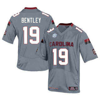 Men's South Carolina Gamecocks #19 Jake Bentley Jersey Grey NCAA