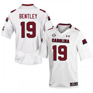 Men's South Carolina Gamecocks #19 Jake Bentley Jersey White NCAA