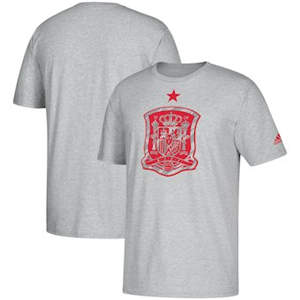 Men's Spain Soccer  Brushed Stripes T-Shirt – Heathered Gray