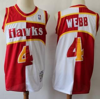 Men's Split Fashion Hawks #4 Spud Webb Red White Stitched Basketball Jersey