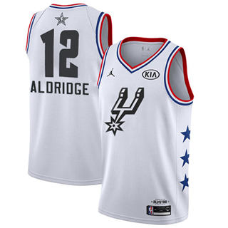 Men's Spurs #12 LaMarcus Aldridge White Basketball Jordan Swingman 2019 All-Star Game Jersey
