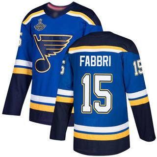 Men's St. Louis Blues #15 Robby Fabbri Blue Home  2019 Stanley Cup Champions Jersey