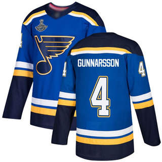 Men's St. Louis Blues #4 Carl Gunnarsson Blue Home  2019 Stanley Cup Champions Jersey