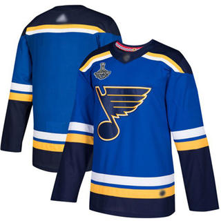 Men's St. Louis Blues Blank Blue Home  2019 Stanley Cup Champions Jersey