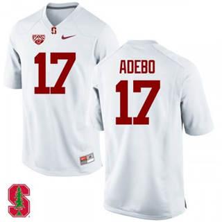 Men's Stanford Cardinal #17 Paulson Adebo NCAA Football Jersey White