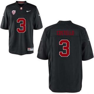 Men's Stanford Cardinal #3 K.J. Costello Jersey #3 Black Football 19-20