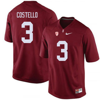 Men's Stanford Cardinal #3 K.J. Costello Jersey #3 Red Football 19-20