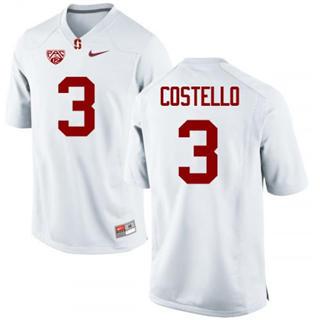Men's Stanford Cardinal #3 K.J. Costello Jersey #3 White Football 19-20