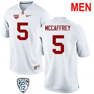 Men's Stanford Cardinal #5 Christian McCaffrey White College Football Jersey