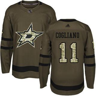 Men's Stars #11 Andrew Cogliano Green Salute to Service Stitched Hockey Jersey