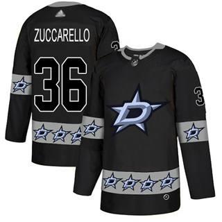 Men's Stars #36 Mats Zuccarello Black  Team Logo Fashion Stitched Hockey Jersey