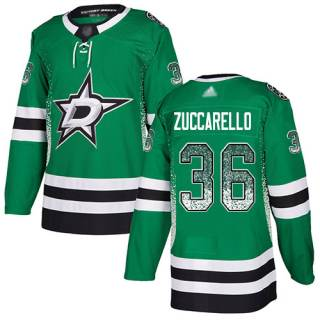 Men's Stars #36 Mats Zuccarello Green Home  Drift Fashion Stitched Hockey Jersey