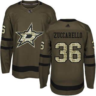 Men's Stars #36 Mats Zuccarello Green Salute to Service Stitched Hockey Jersey