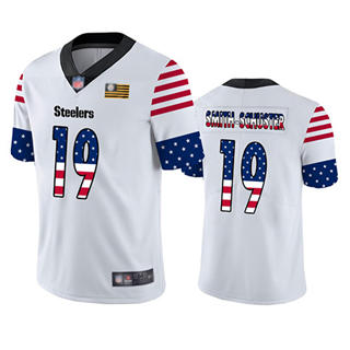 Men's Steelers #19 JuJu Smith-Schuster White Stitched Football Limited Independence Day Jersey