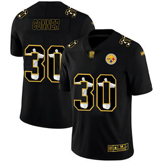 Men's Steelers #30 James Conner Black Stitched Football Limited Jesus Faith Jersey