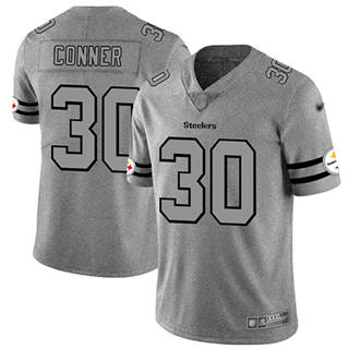 Men's Steelers #30 James Conner Gray Stitched Football Limited Team Logo Gridiron Jersey