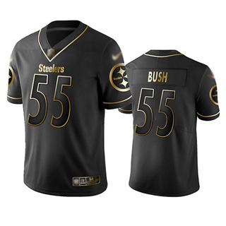 Men's Steelers #55 Devin Bush Black Stitched Football Limited Golden Edition Jersey