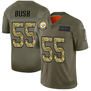 Men's Steelers #55 Devin Bush Olive Camo Stitched Football Limited 2019 Salute To Service Jersey