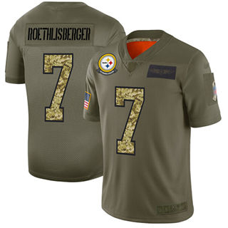 Men's Steelers #7 Ben Roethlisberger Olive Camo Stitched Football Limited 2019 Salute To Service Jersey