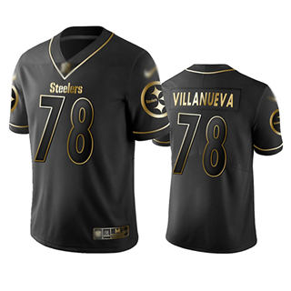 Men's Steelers #78 Alejandro Villanueva Black Stitched Football Limited Golden Edition Jersey