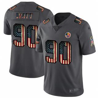 Men's Steelers #90 T. J. Watt Carbon Black Stitched Football Limited Retro Flag Jersey