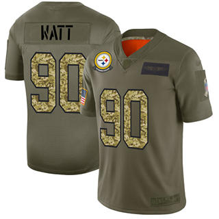 Men's Steelers #90 T. J. Watt Olive Camo Stitched Football Limited 2019 Salute To Service Jersey
