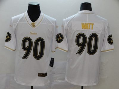 Men's Steelers #90 T. J. Watt White Stitched Football Limited Golden Edition Jersey
