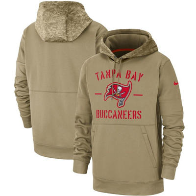 Men's Tampa Bay Buccaneers Tan 2019 Salute to Service Sideline Therma Pullover Hoodie