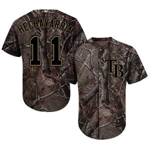 Men's Tampa Bay Rays #11 Adeiny Hechavarria Camo Realtree Collection Cool Base Stitched Baseball Jersey