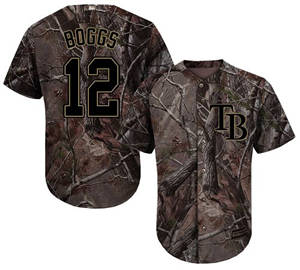Men's Tampa Bay Rays #12 Wade Boggs Camo Realtree Collection Cool Base Stitched Baseball Jersey