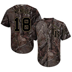 Men's Tampa Bay Rays #18 Joey Wendle Camo Realtree Collection Cool Base Stitched Baseball Jersey