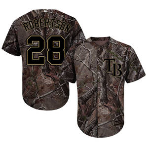 Men's Tampa Bay Rays #28 Daniel Robertson Camo Realtree Collection Cool Base Stitched Baseball Jersey
