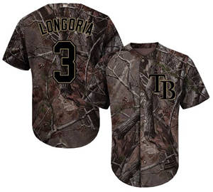 Men's Tampa Bay Rays #3 Evan Longoria Camo Realtree Collection Cool Base Stitched Baseball Jersey