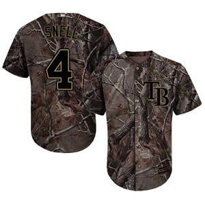 Men's Tampa Bay Rays #4 Blake Snell Camo Realtree Collection Cool Base Stitched Baseball Jersey