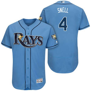 Men's Tampa Bay Rays #4 Blake Snell Light Blue Flexbase 20th Anniversary Alternate Collection Stitched Baseball Jersey