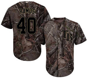 Men's Tampa Bay Rays #40 Wilson Ramos Camo Realtree Collection Cool Base Stitched Baseball Jersey