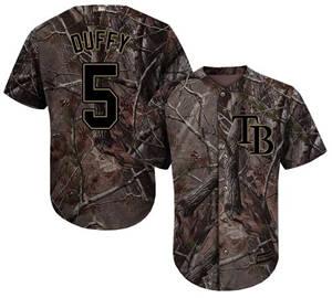 Men's Tampa Bay Rays #5 Matt Duffy Camo Realtree Collection Cool Base Stitched Baseball Jersey
