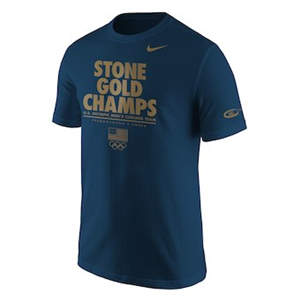 Men's Team USA  2018 Winter Olympics Curling Stone Gold Champions T-Shirt – Blue