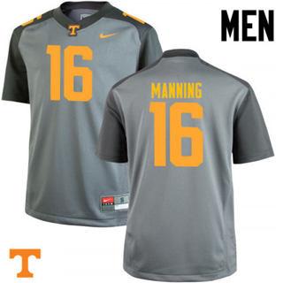 Men's Tennessee Volunteers #16 Peyton Manning Jersey Gray NCAA