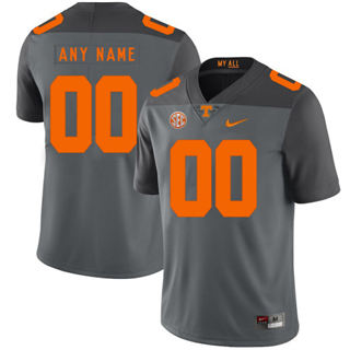 Men's Tennessee Volunteers Custom Name Number College Football Jersey Gray