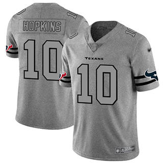 Men's Texans #10 DeAndre Hopkins Gray Stitched Football Limited Team Logo Gridiron Jersey